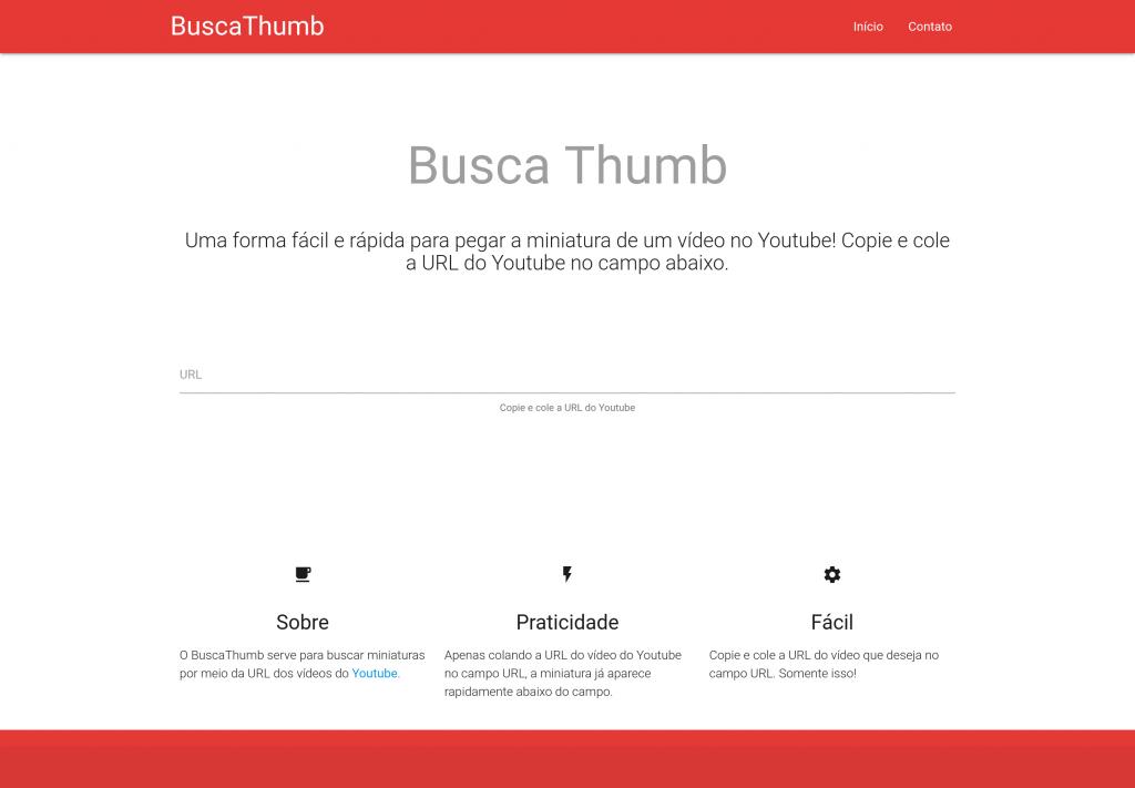 Página inicial do BuscaThumb